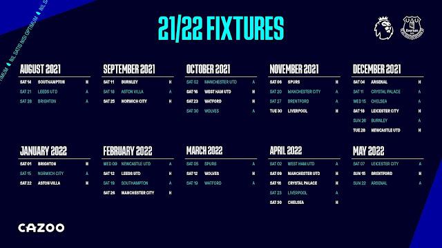 جدول مباريات إيفرتون فى الدوري الانجليزي للموسم 2021/2022