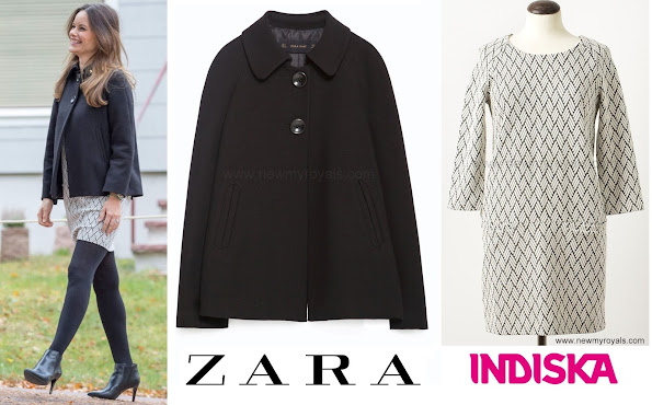 Princess Sofia of Sweden style Zara Pleated Back Cape and Indiska Trixie Multi Dress