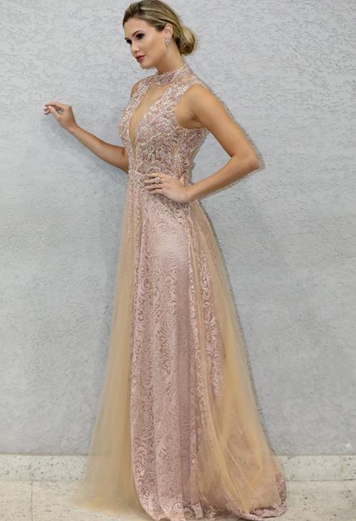 vestido rose longo madrinha