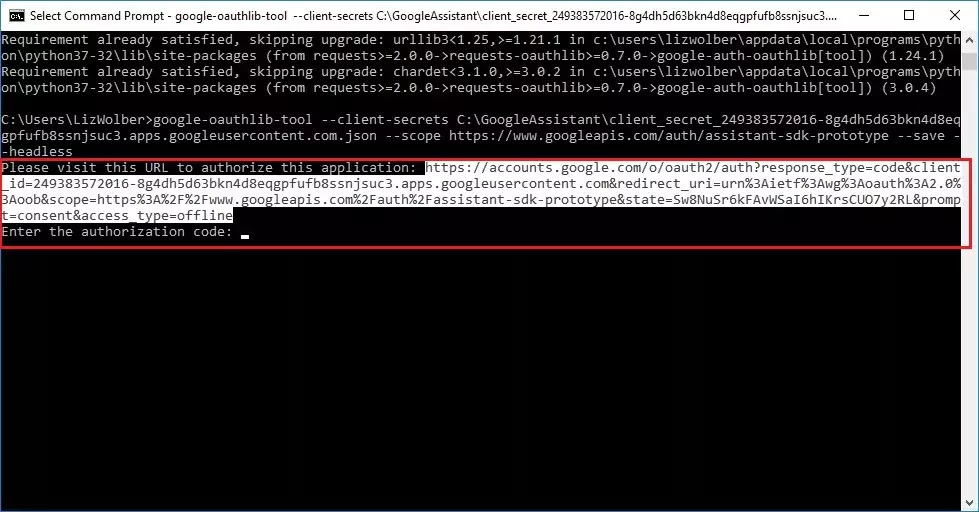 Command Prompt screen with long URL (https://) selected