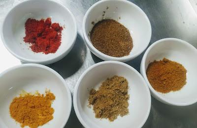 Turmeric powder, Red Chilli powder, ground cumin, ground Coriander for chicken Tikka masala recipe