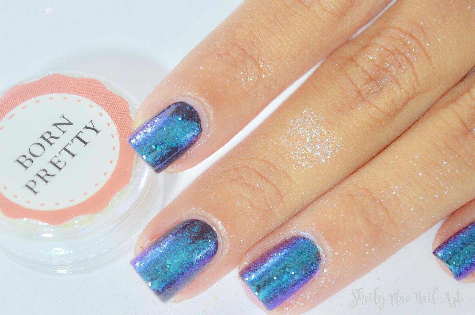 Galaxy Nails using Mirror Powder - Born Pretty Store Mirror Powder ...
