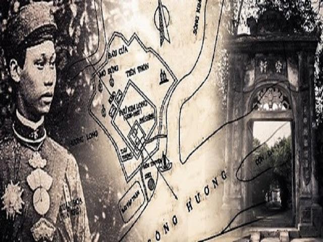 Hình ảnh vua Thành Thái và cổng làng Kim Long
