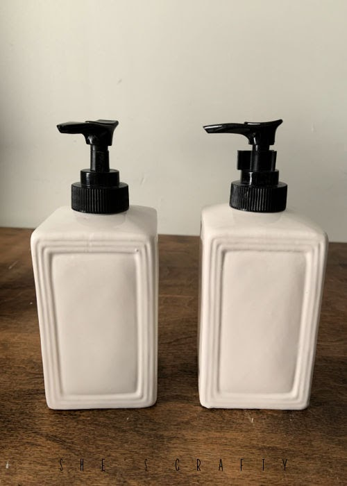 Farmhouse Soap Dispenser white base with black pump.
