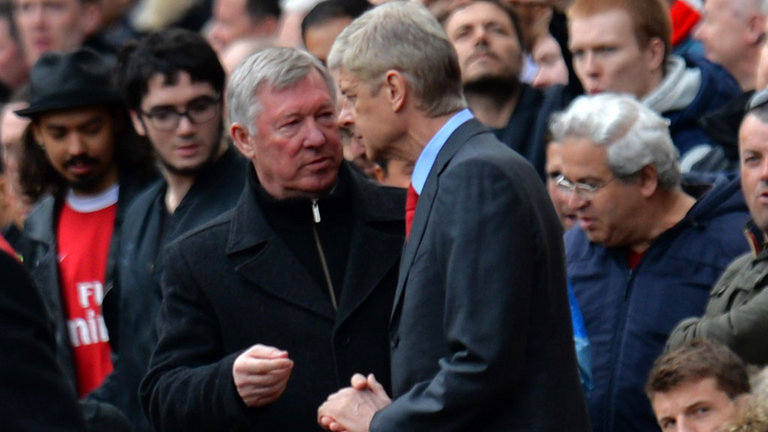 premier league winners ferguson and wenger at old trafford