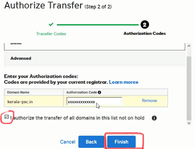 Authorization code and finish godaddy