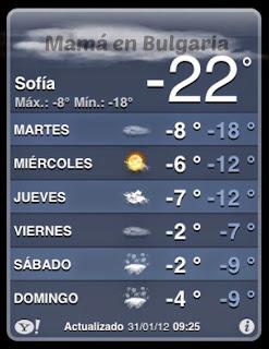 Temperatura invierno en Bulgaria