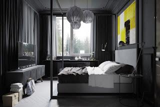 Habitación moderna gris