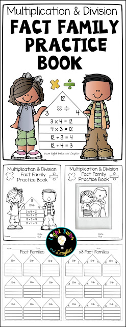 Multiplication and Division Fact Family Practice Book from Light Bulbs and Laughter