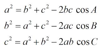 formulas lei dos cossenos equaçoes