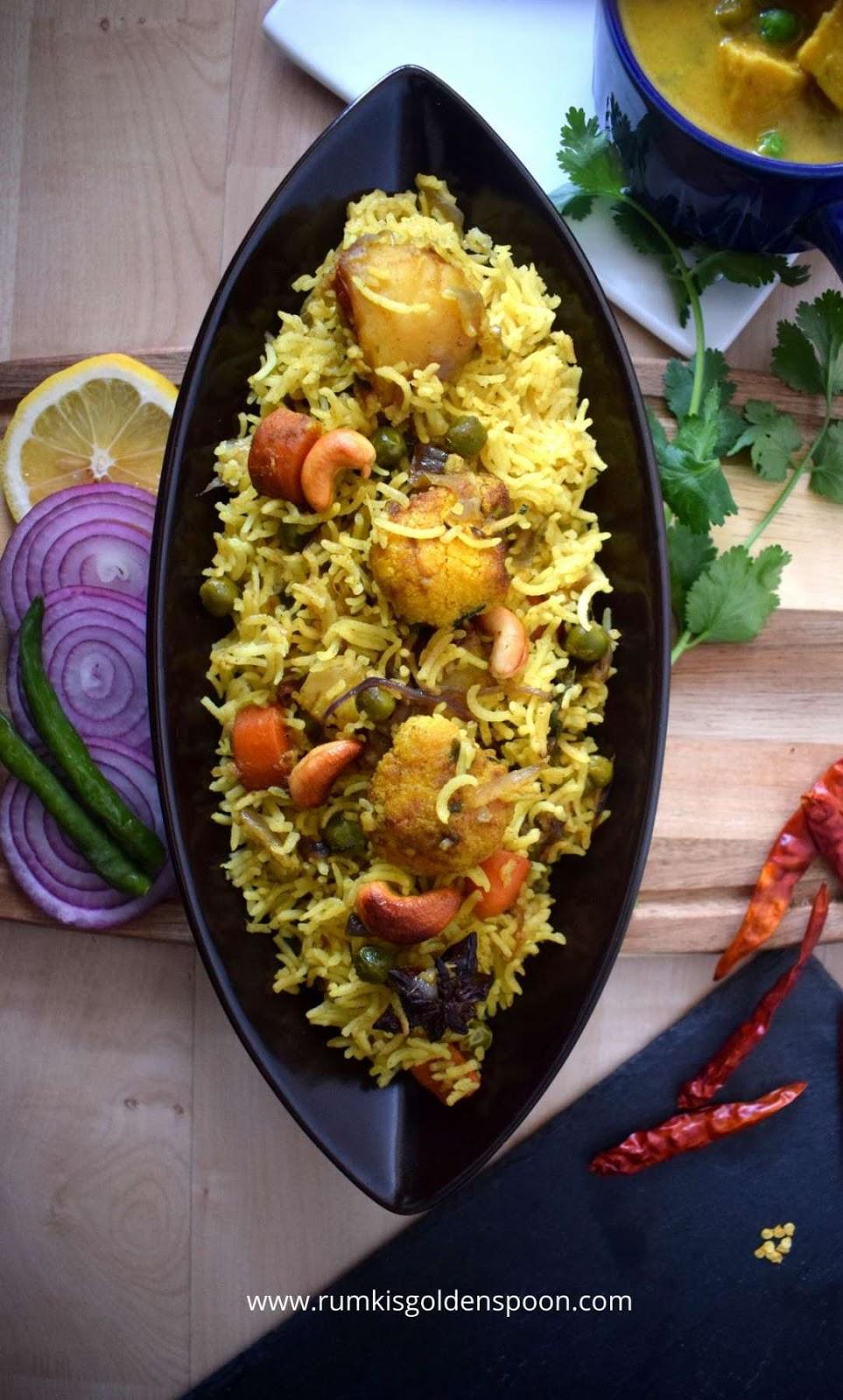 Indian Recipe, Vegetarian Recipe, Easy Vegetable Dum Biryani, Rumki's Golden Spoon, recipe of vegetable biryani, hyderabadi style dum biryani, flavoured rice with vegetables, vegan/vegetable rice recipe