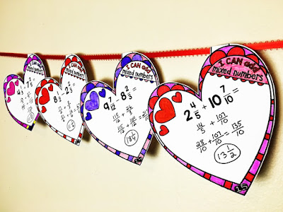 Adding ad subtracting mixed numbers heart math pennants for Valentine's Day