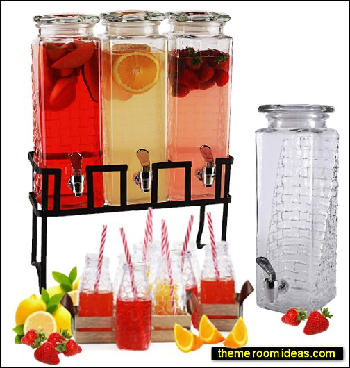 Tall Square Glass Beverage Dispensers and Metal Stand  decorative kitchen items - novelty mugs - unique kitchen gadgets - food pillows - kitchen wall decals - kitchen wall quotes - cool stuff to buy - kitchen cupboard contact paper -  kitchen storage ideas - cute kitchen utensils - fun cooking tools - dining decor -