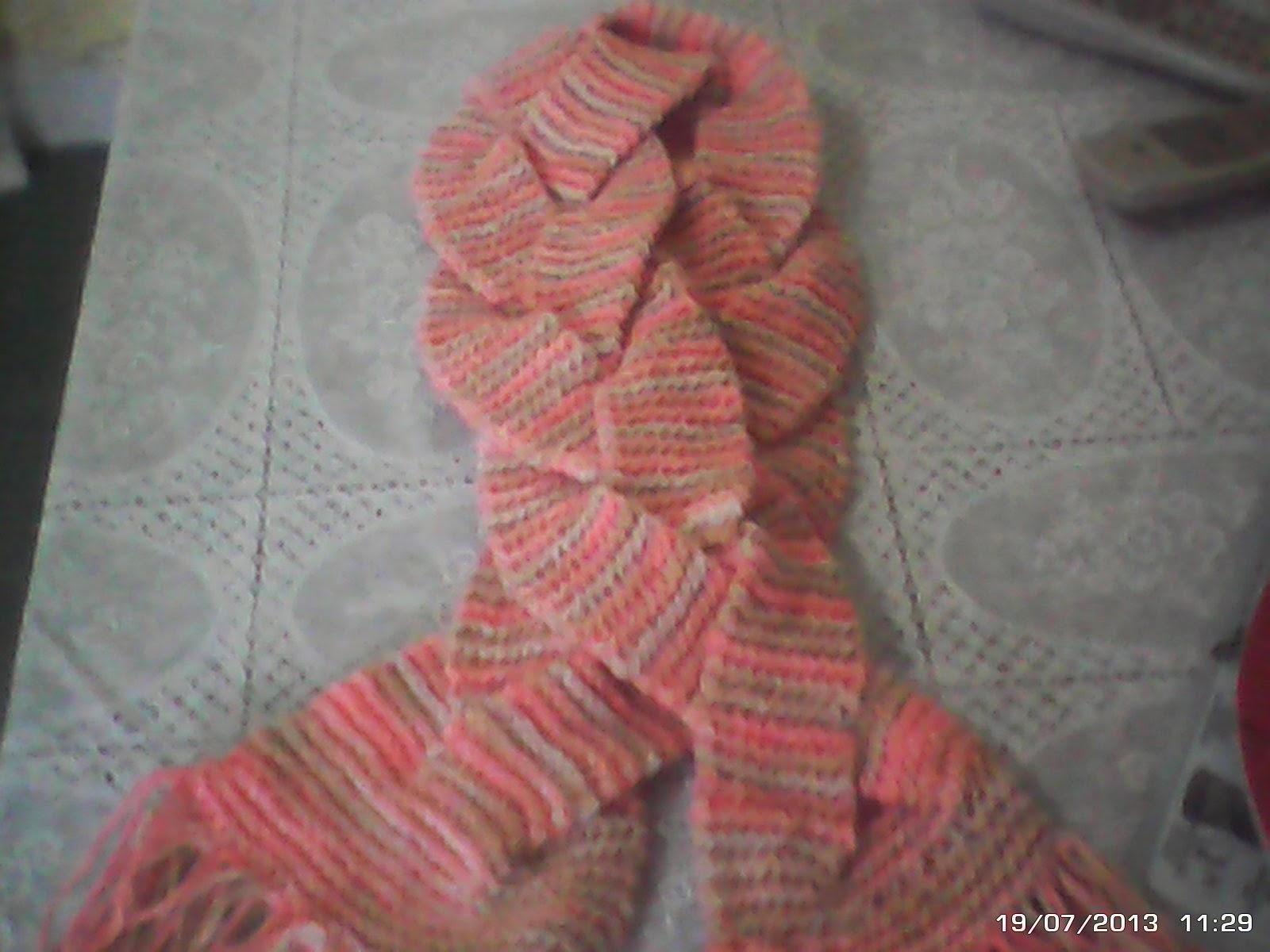 cachecol trançado em tricô