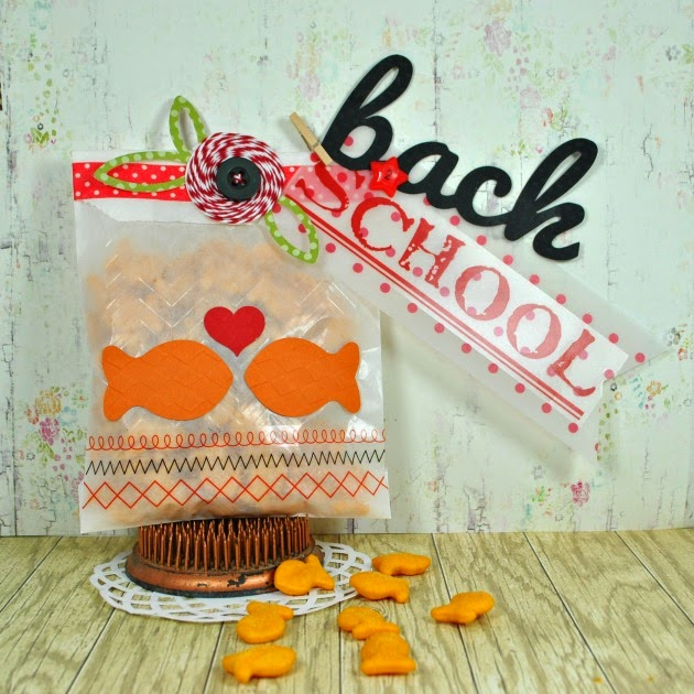 SRM Stickers Blog - Back To School Treat Bag by Cathy H.- #school #embossed #bag #glassine #stickers #numbers #twine #treat