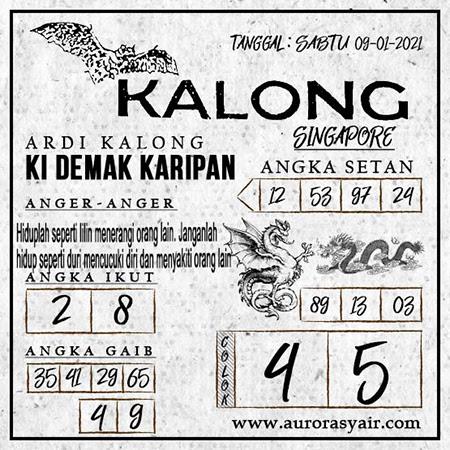Syair Kalong SGP Sabtu 09-Jan-2021
