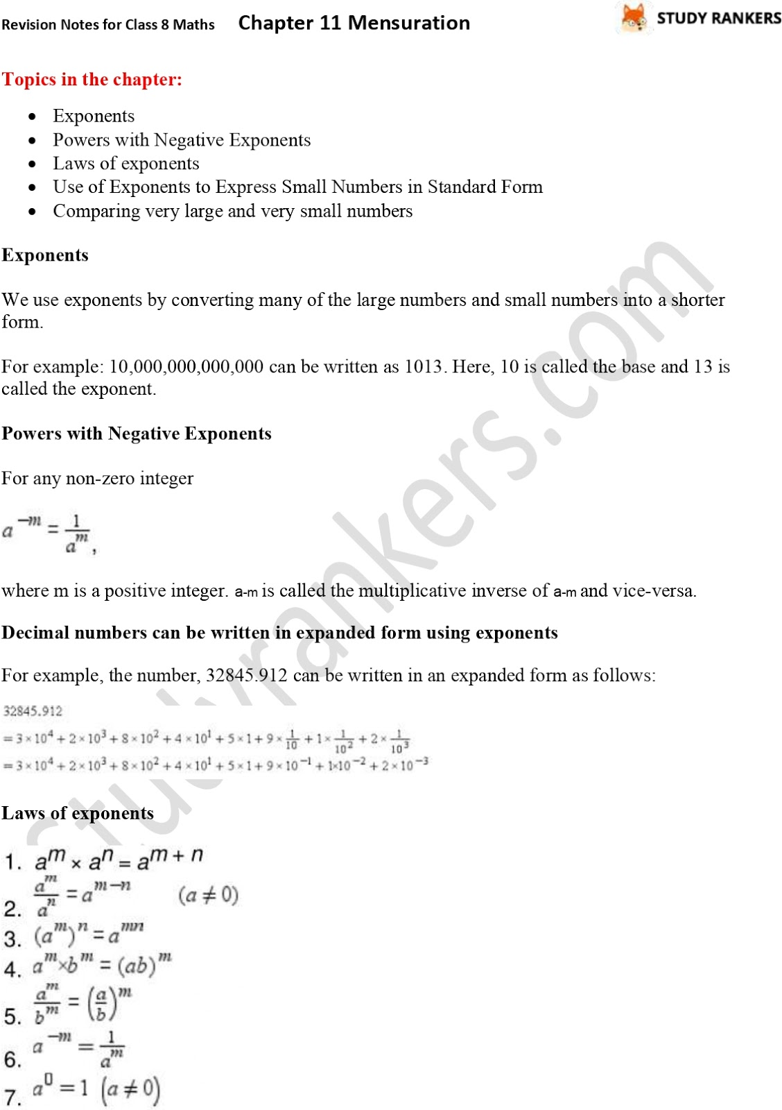 CBSE Revision Notes for Class 8 Chapter 12 Exponents and Powers Part 1