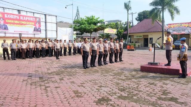 Kapolres Tanjung Balai Pimpin Upacara Korps Raport Kenaikan Pangkat Setingkat Lebih Tinggi