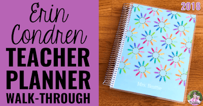 "Photo of 2018 Teacher Planner with text, ""Erin Condren Teacher Planner Walk-Through."""