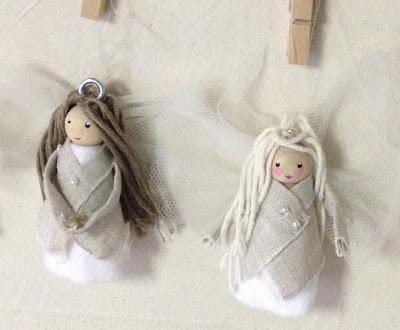 Little peg doll angels in linen jackets
