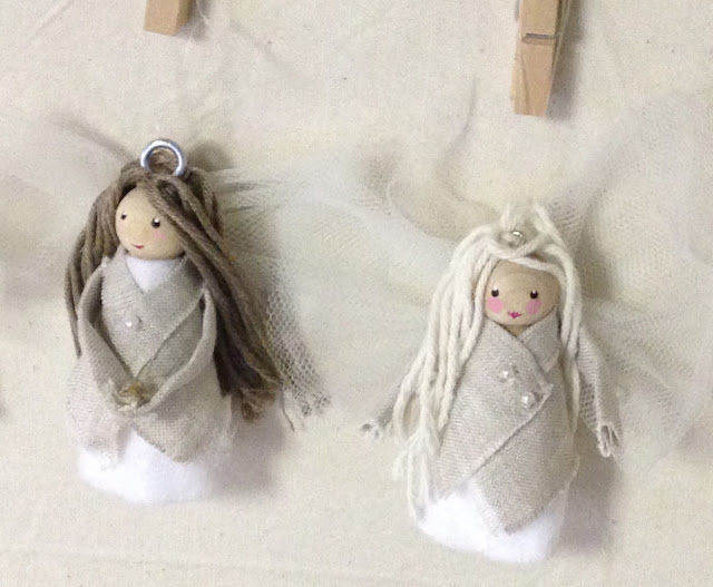 Little peg doll angels in linen jackets