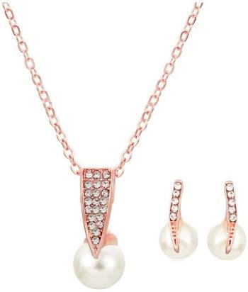90% OFF  3pcs/Set Pearl Diamonds Necklace& Earring Set