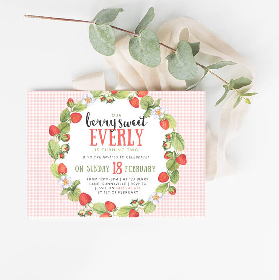 strawberry themed birthday invitation