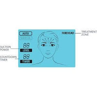 MicrodermMD's LED display, image, with Auto Mode, displays zone of face/neck to treat, preset suction power level, countdown timer
