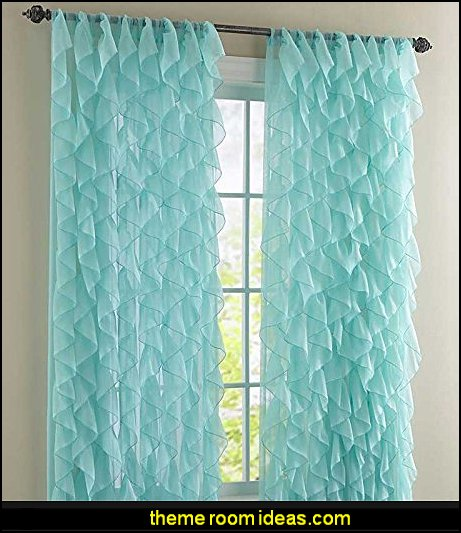 Cascade Shabby Chic Ruffled Sheer Shower Curtains - Sea