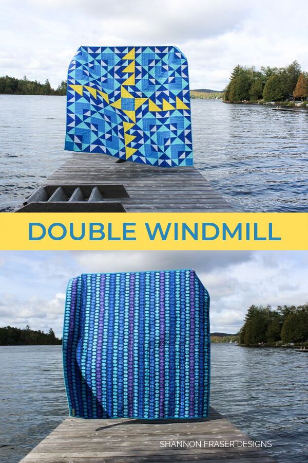 Double Windmill quilt in the wild on the dock | Modern Quilt Pattern | Shannon Fraser Designs #quiltsinthewild #modernquilt #quilts