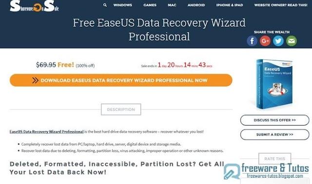 Offre promotionnelle : EaseUS Data Recovery Wizard Pro gratuit !