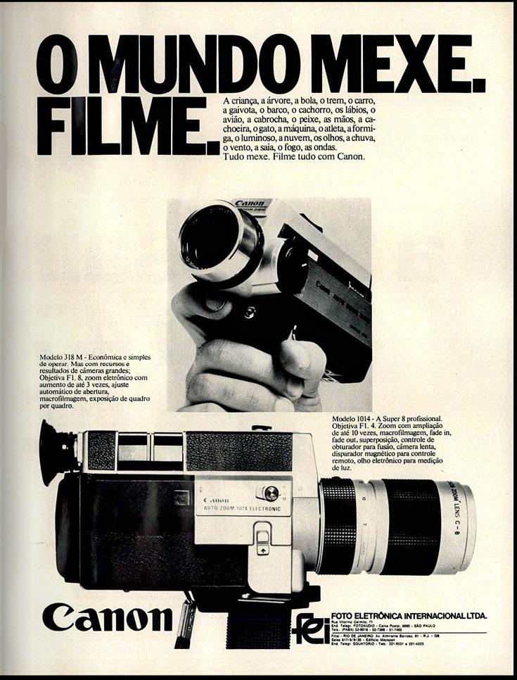Propaganda antiga da Canon veiculada em 1974 promovendo suas câmeras portáteis