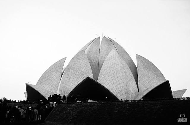 lotus temple delhi black and white photo