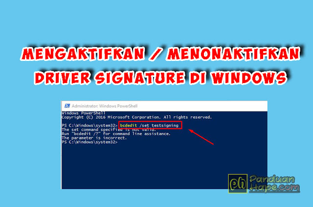 mengatifkan driver signature di windows