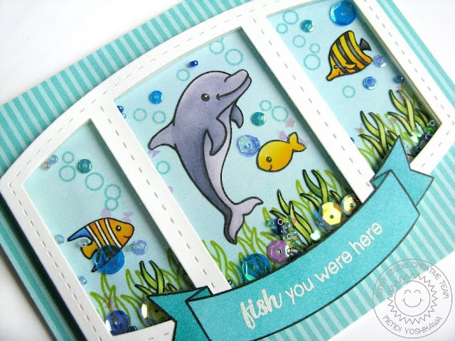 Sunny Studio Stamps + Studio Katia: Oceans of Joy Aquarium Shaker Card by Mendi Yoshikawa