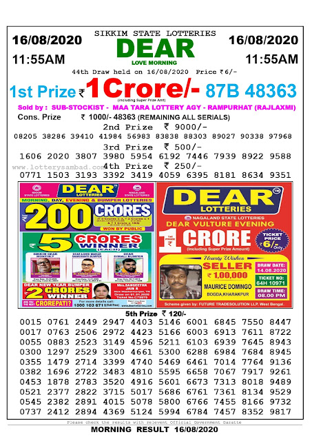 Sikkim State Lottery Sambad 16-08-2020 Today Result 11.55 AM