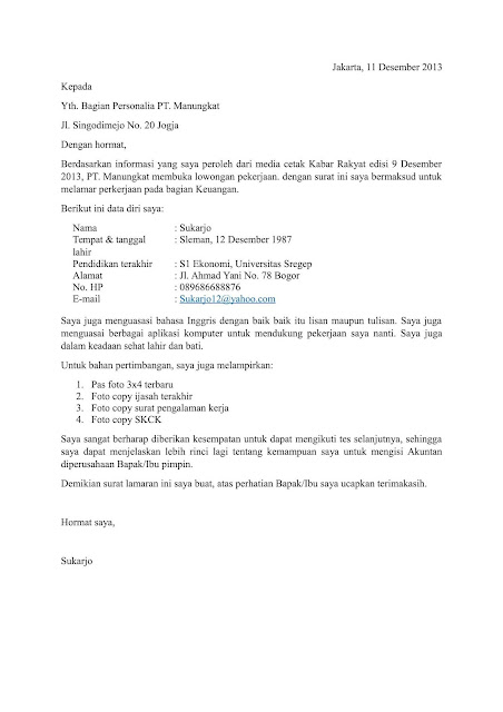 Cara Membuat Surat Lamaran Kerja yang Terstruktur (via: gawecv.com)