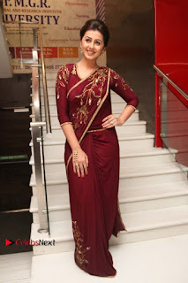 South Indian Actress Nikki Galrani Stills in Red Designer Saree at Maragadha Naanayam Tamil Movie Audio Launch  0016.jpg