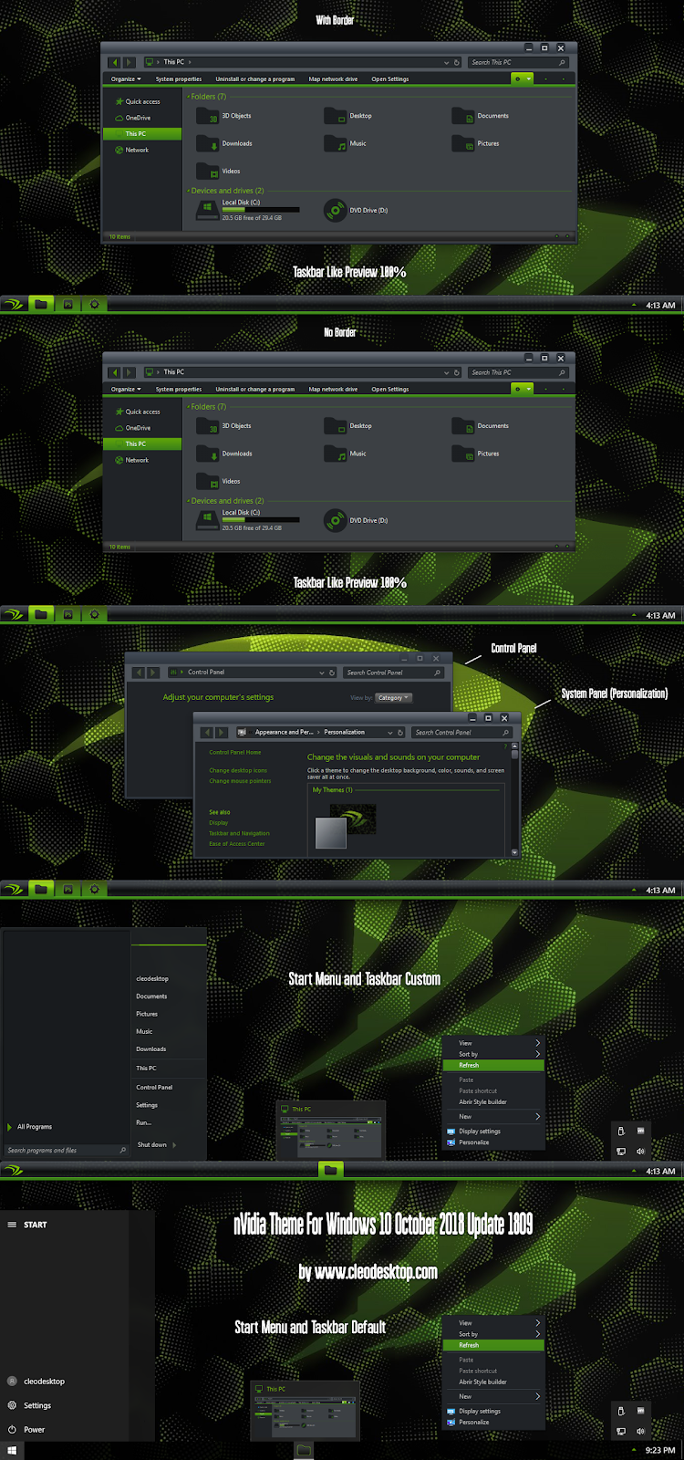 nVidia Theme Windows 10 October 2018 Update 1809 - Cleodesktop I