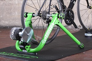 bicycle wheel mounted in trainer