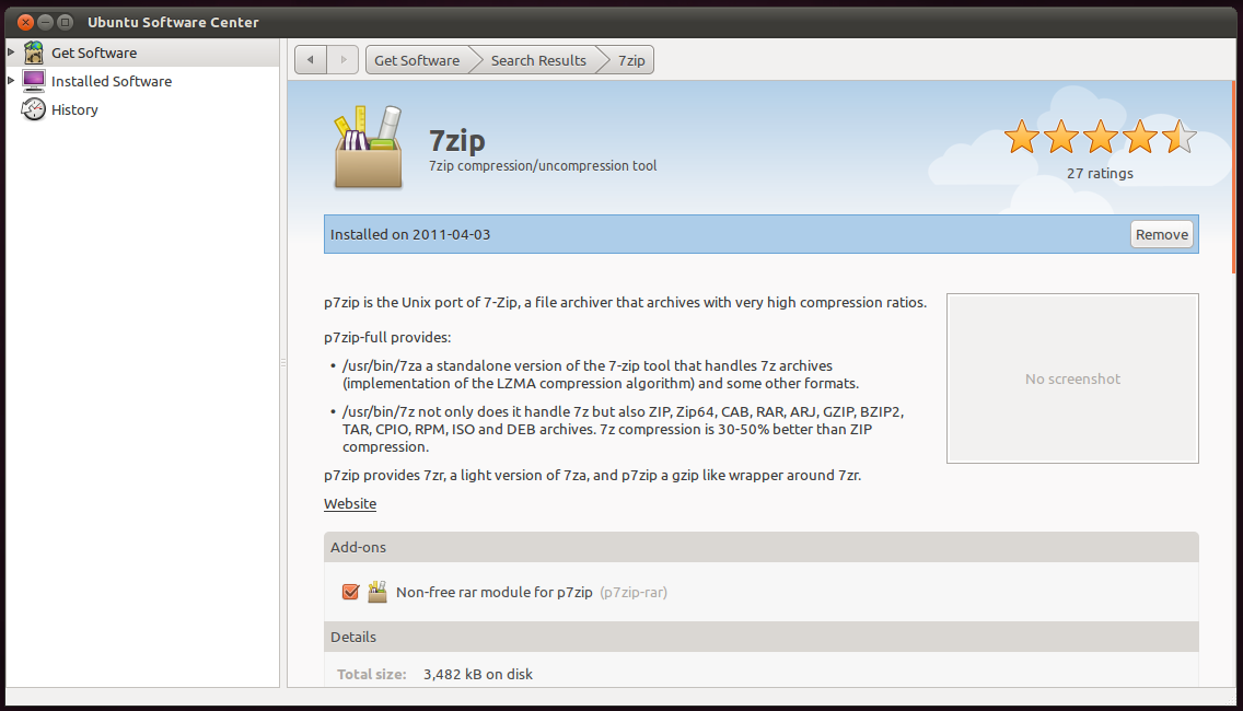 How to Install 7zip Archive Manager in Ubuntu 11 04 Natty Narwhal?