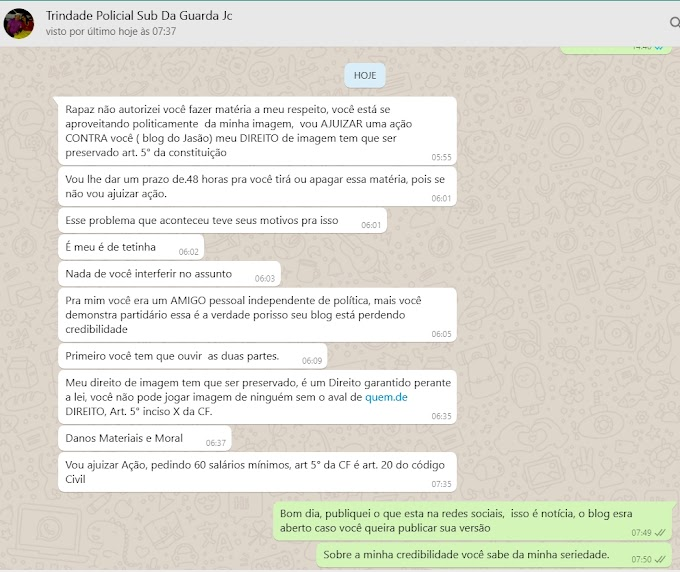 Subcoordenador da Guarda de João Câmara Trindade, dar prazo de 48H para blog do Jasão apagar matéria e ameaça ir a justiça pedir indenização de 60 salários minimos