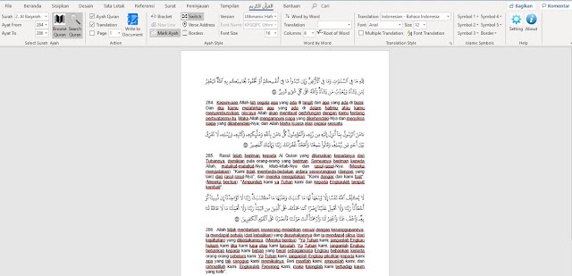 cara memasukan ayat al quran ke word