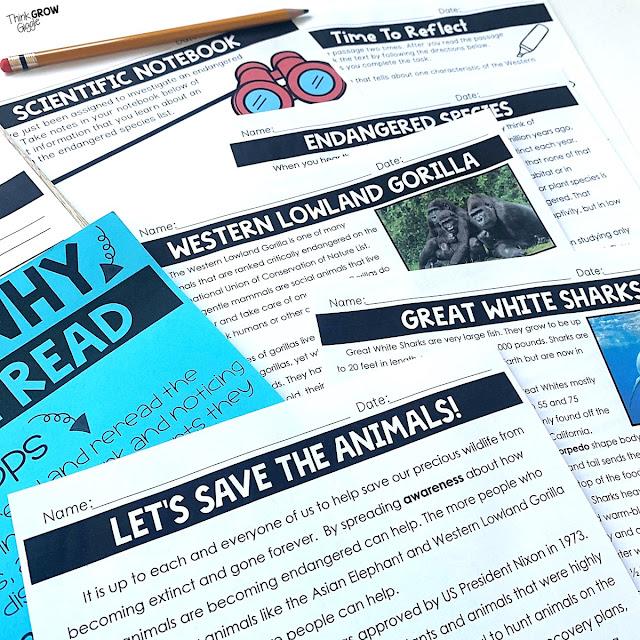 endangered animal close reading passages for kids