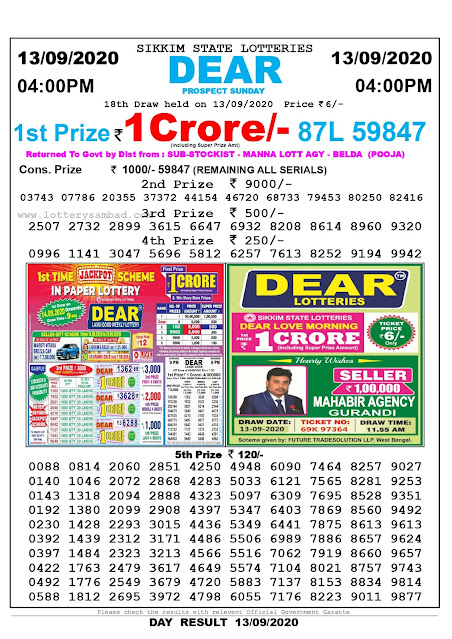 Lottery Sambad Result 13.09.2020 Dear Prospect Sunday 4:00 pm