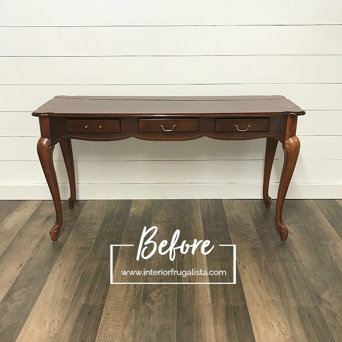 Blushing Bombshell Sofa Table Makeover Before