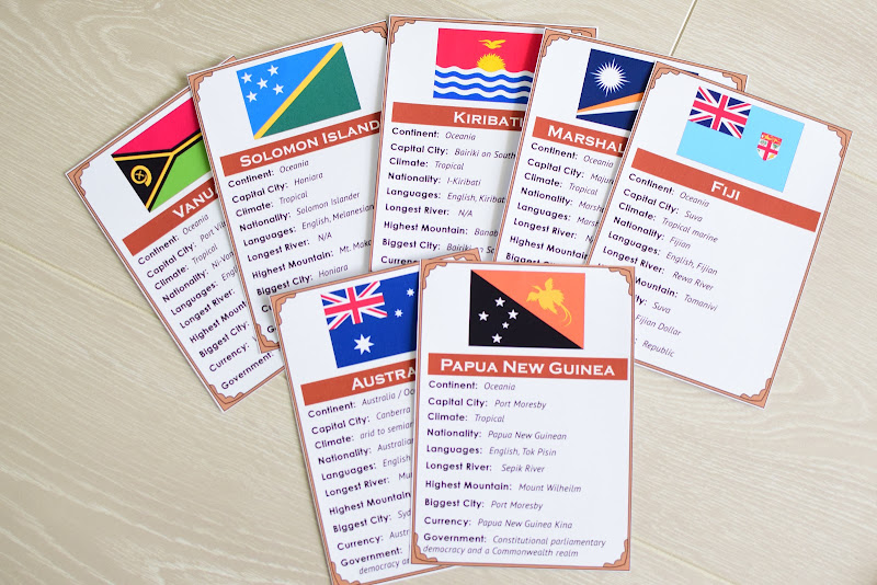 Oceania CONTINENT Study: COUNTRY FACT CARDS