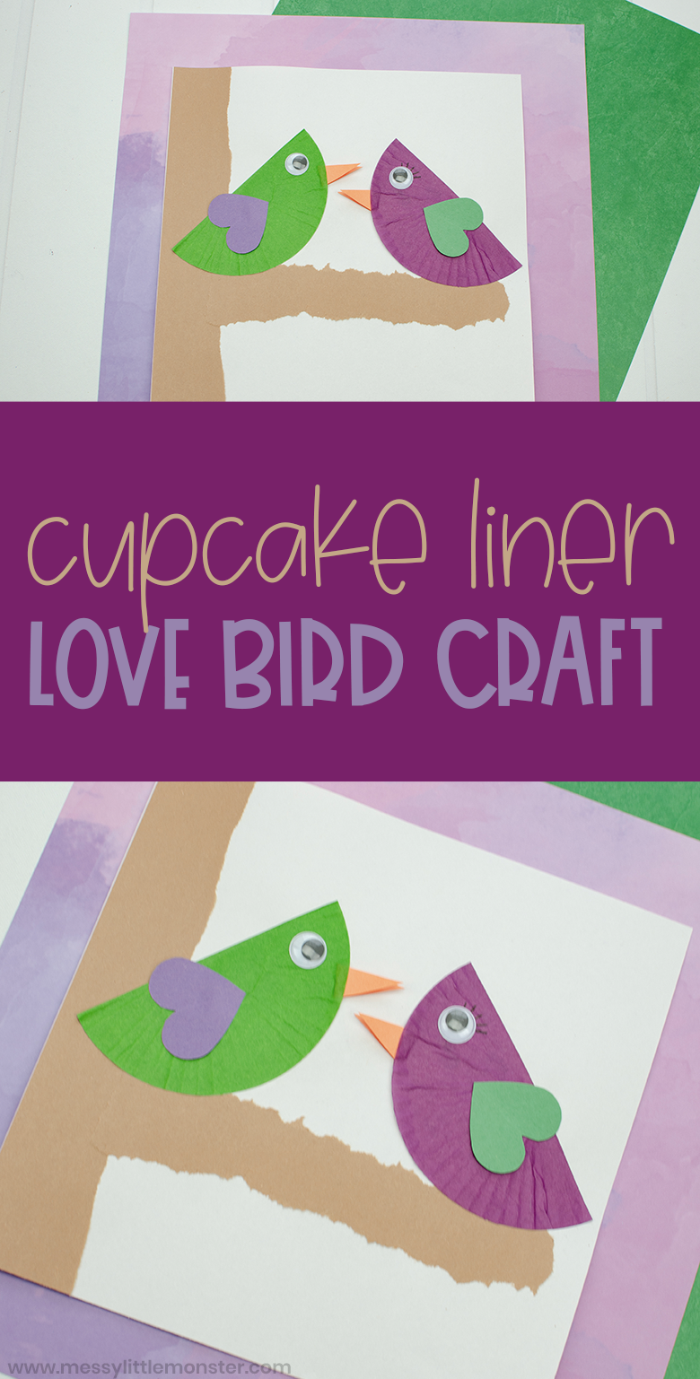 Love bird craft for kids. Cupcake liner craft for preschoolers.