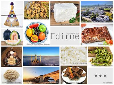 Edirne'nin meşhur şeylerini gösteren resimlerden oluşan kolaj