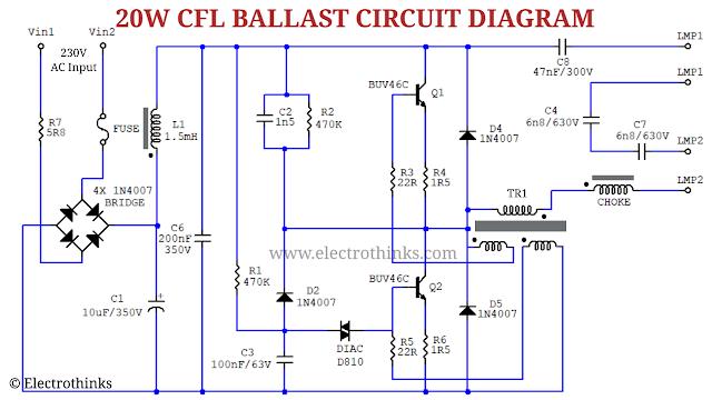 Schematic of 20W CFL Bulb Ballast Circuit